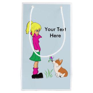 Sacola Para Presentes Pequena Adolescente com o t-shirt dos desenhos animados do