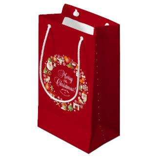 Sacola Para Presentes Pequena Alegre bonito pouco saco do presente do Natal |