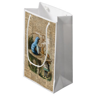 Sacola Para Presentes Pequena Alice, cogumelo e Jin, arte do dicionário do