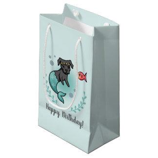 Sacola Para Presentes Pequena Aniversário do pitbull da sereia