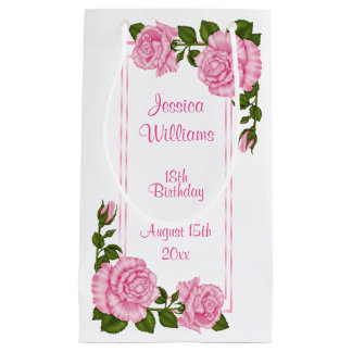 Sacola Para Presentes Pequena Aniversário dos buquês de canto cor-de-rosa bonito