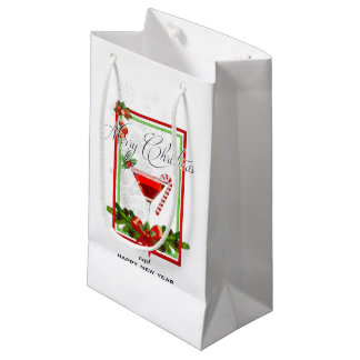 Sacola Para Presentes Pequena Arte da aguarela do cocktail do Natal