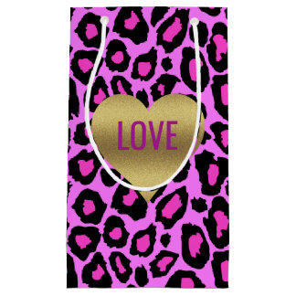 Sacola Para Presentes Pequena As bolsas cor-de-rosa e roxas do amor do leopardo