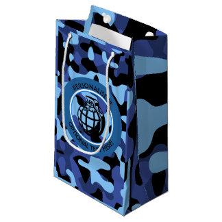 Sacola Para Presentes Pequena As forças armadas azuis camuflam com granada