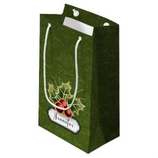 Sacola Para Presentes Pequena Baga de brilho do azevinho na cor damasco com nome
