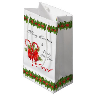 Sacola Para Presentes Pequena Bagas Natal do azevinho e bastões de doces