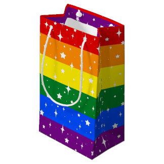 Sacola Para Presentes Pequena Bandeira Sparkly do arco-íris