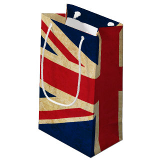 Sacola Para Presentes Pequena Bandeira velha Union Jack de Reino Unido do Grunge
