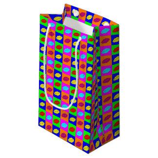Sacola Para Presentes Pequena Beijo colorido do batom do pop art