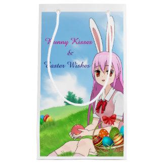 Sacola Para Presentes Pequena Beijos do coelho & desejos da páscoa