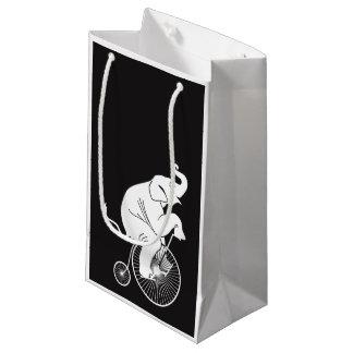 Sacola Para Presentes Pequena Bicicleta do vintage da equitação do elefante