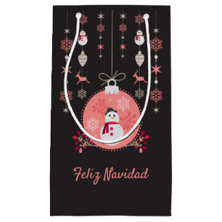 Sacola Para Presentes Pequena Boneco de neve Navidad do quadro