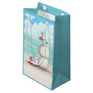 Sacola Para Presentes Pequena Boneco de neve tropical da ioga no saco do