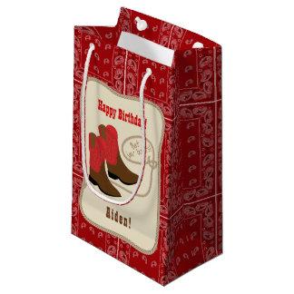 Sacola Para Presentes Pequena Botas de vaqueiro do feliz aniversario & Bandana