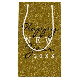 Sacola Para Presentes Pequena Brilho na moda do ouro do feliz ano novo