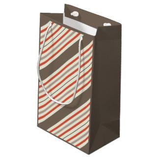 Sacola Para Presentes Pequena Brown e saco pequeno listrado vermelho do presente