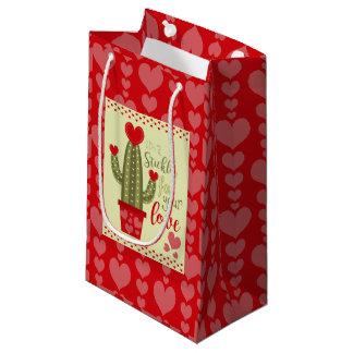 Sacola Para Presentes Pequena Cacto de conexão em cascata dos corações do saco