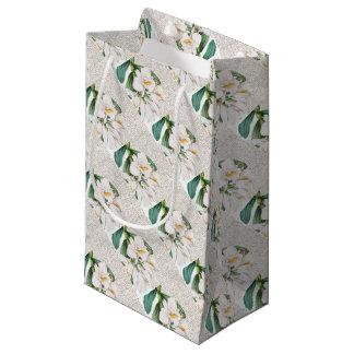 Sacola Para Presentes Pequena Caligrafia branca das orquídeas