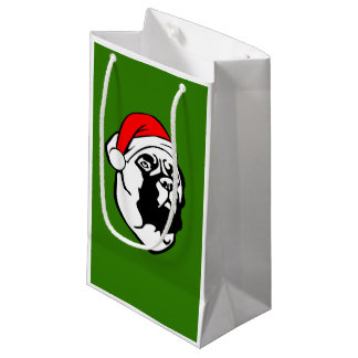 Sacola Para Presentes Pequena Cão de Bullmastiff com o chapéu do papai noel do