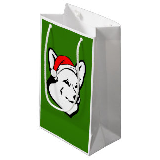 Sacola Para Presentes Pequena Cão do Corgi de galês do Pembroke com o chapéu do