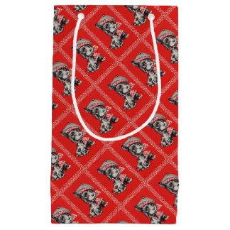 Sacola Para Presentes Pequena cão do Scottie dos anos 50 no vermelho
