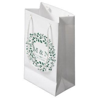 Sacola Para Presentes Pequena Casamento do monograma da grinalda | da aguarela