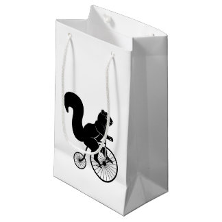 Sacola Para Presentes Pequena Cavaleiro do esquilo na bicicleta velha