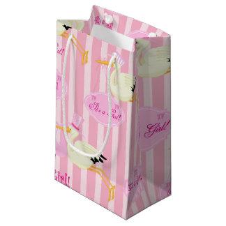 Sacola Para Presentes Pequena Cegonha cor-de-rosa e branca do bebé