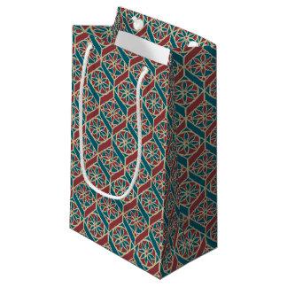 Sacola Para Presentes Pequena Cerceta, marrom, teste padrão floral étnico bege
