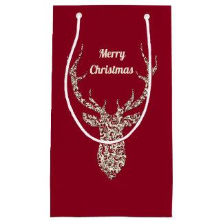 Sacola Para Presentes Pequena Cervos filigranas do Natal