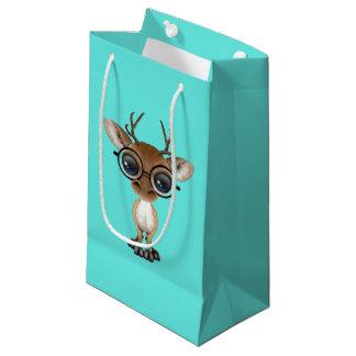 Sacola Para Presentes Pequena Cervos Nerdy do bebê que vestem vidros