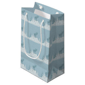 Sacola Para Presentes Pequena Cervos no saco nevado do presente das montanhas