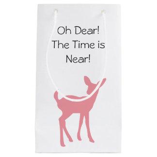 Sacola Para Presentes Pequena Chá de fraldas cor-de-rosa dos animais da floresta