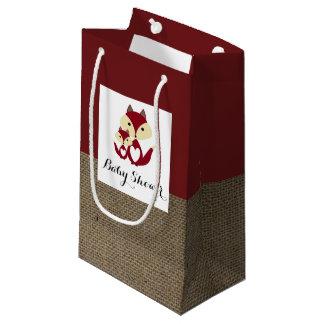 Sacola Para Presentes Pequena Chá de fraldas de serapilheira do Fox vermelho