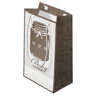 Sacola Para Presentes Pequena Chá de fraldas rústico do frasco de pedreiro de