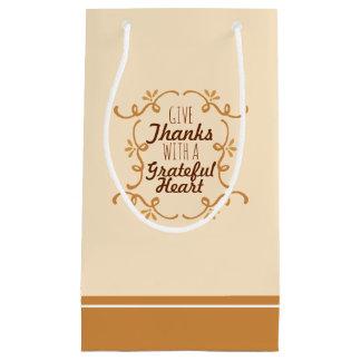Sacola Para Presentes Pequena Com um saco grato do presente da acção de graças  