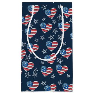 Sacola Para Presentes Pequena Coração da bandeira americana