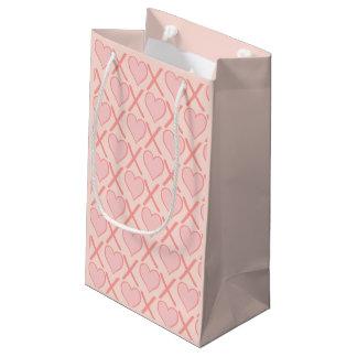 Sacola Para Presentes Pequena Coram os abraços e os beijos cor-de-rosa