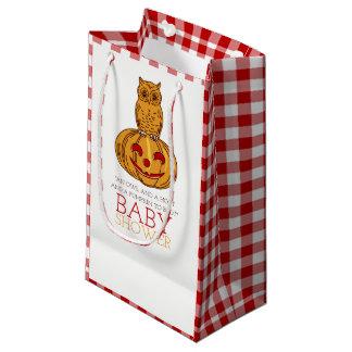 Sacola Para Presentes Pequena Coruja da abóbora & chá de fraldas do guingão