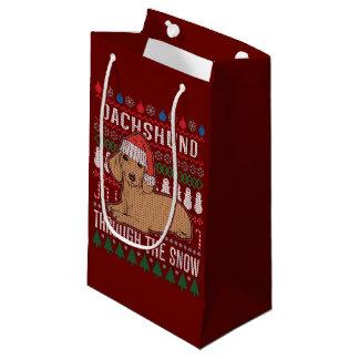 Sacola Para Presentes Pequena Dachshund através da camisola feia do Natal da