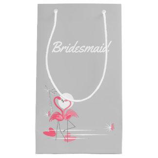 Sacola Para Presentes Pequena Dama de honra do lado do amor do flamingo pequena