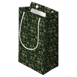 Sacola Para Presentes Pequena Design bege cinzento verde escuro de Camo da