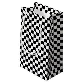 Sacola Para Presentes Pequena Design Checkered preto e branco