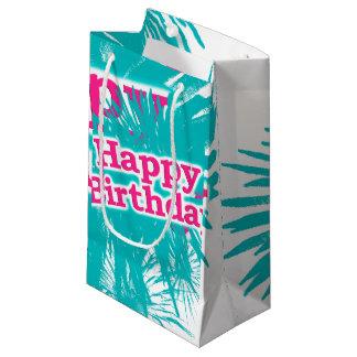 Sacola Para Presentes Pequena Design tipográfico feliz de Brithday