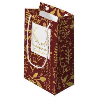 Sacola Para Presentes Pequena Dia das mães floral da grinalda do ouro elegante
