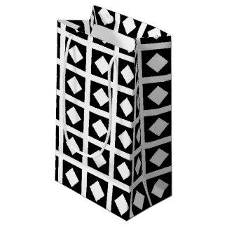 Sacola Para Presentes Pequena Diamantes brancos e quadrados pretos