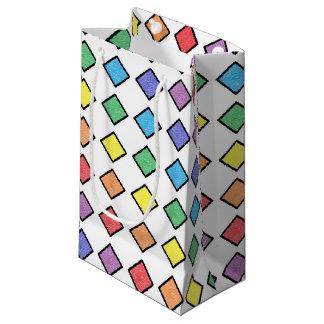 Sacola Para Presentes Pequena Diamantes estáticos esboçados preto do arco-íris
