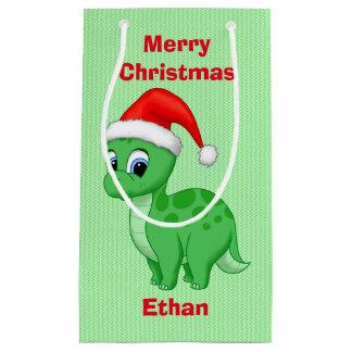 Sacola Para Presentes Pequena Dinossauro verde bonito do bebê no chapéu do papai