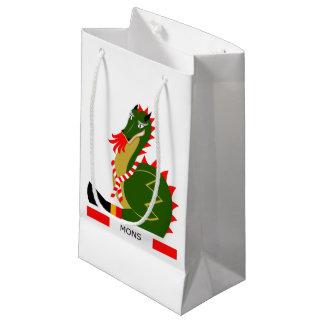 Sacola Para Presentes Pequena Dragão verde da cidade Mons, Bélgica
