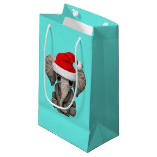 Sacola Para Presentes Pequena Elefante do bebê que veste um chapéu do papai noel